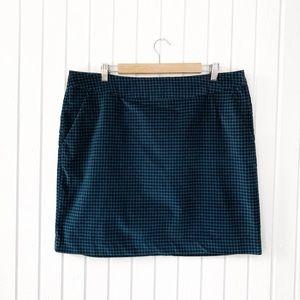 LL Bean Favorite Fit Houndstooth Velvet Skirt